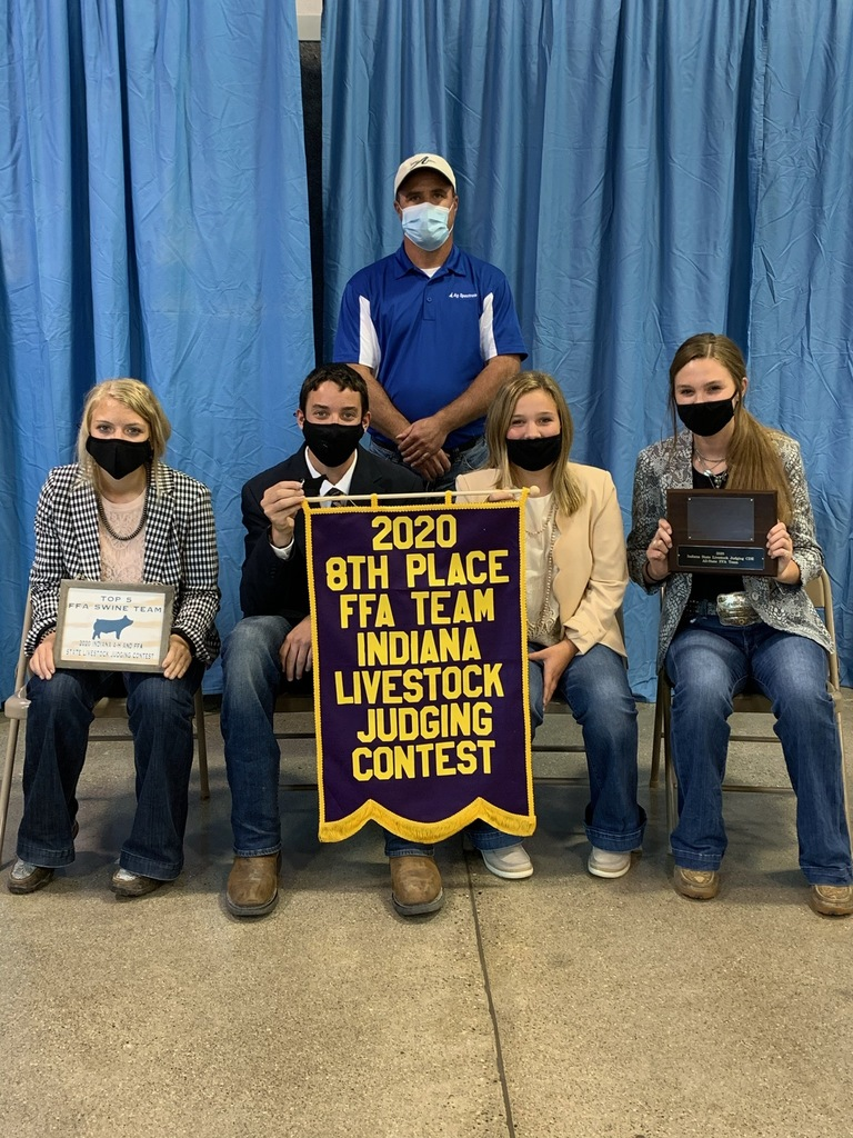 Members of the 8th place FFA State Livestock Judging Team pictured: Ali Sottong, Cooper Altherr, Kenzie Plake, Kenzie Larson, Coach Erik Larson