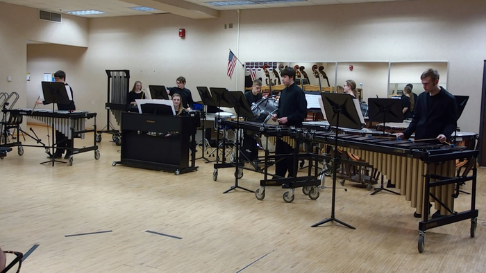 "Percussion Ensemble performing ""Dystopia."""