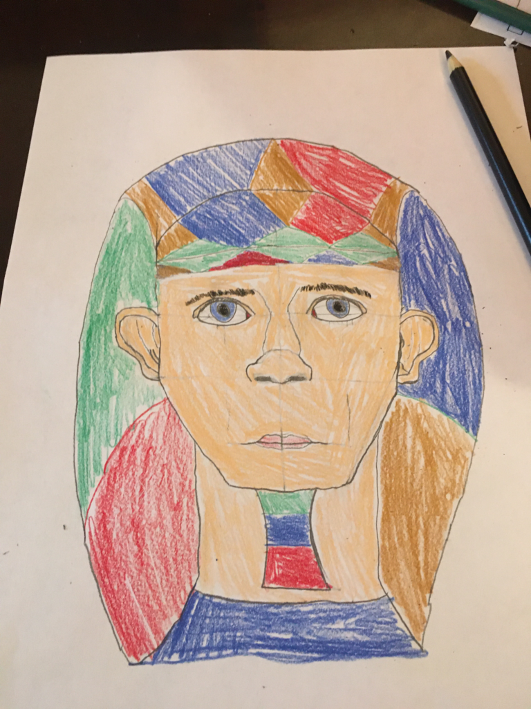N. Walker (grade 6) Egyptian Art Unit : creating a portrait using proportion